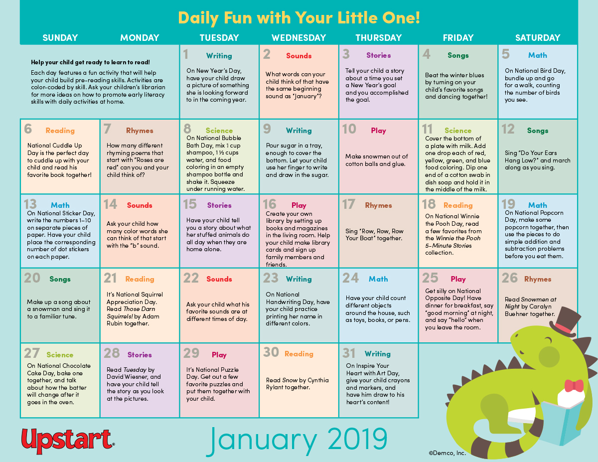 Early Literacy Activities Calendar January Crafts Books And More