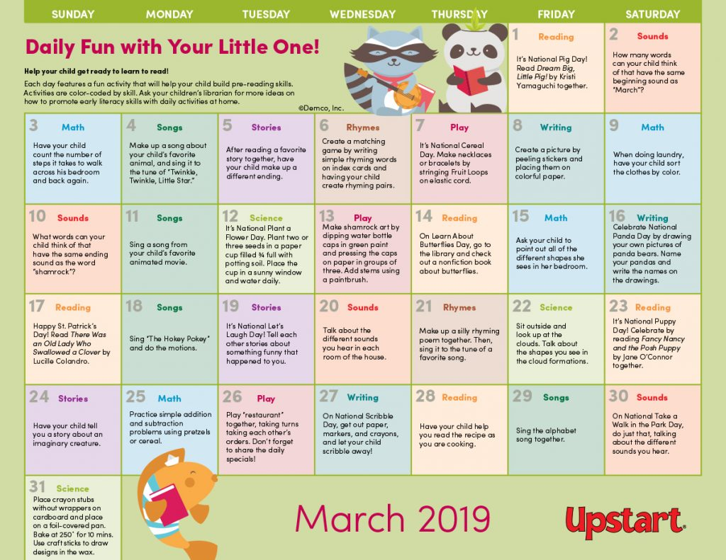 Early Literacy Activities Calendar For Your Library