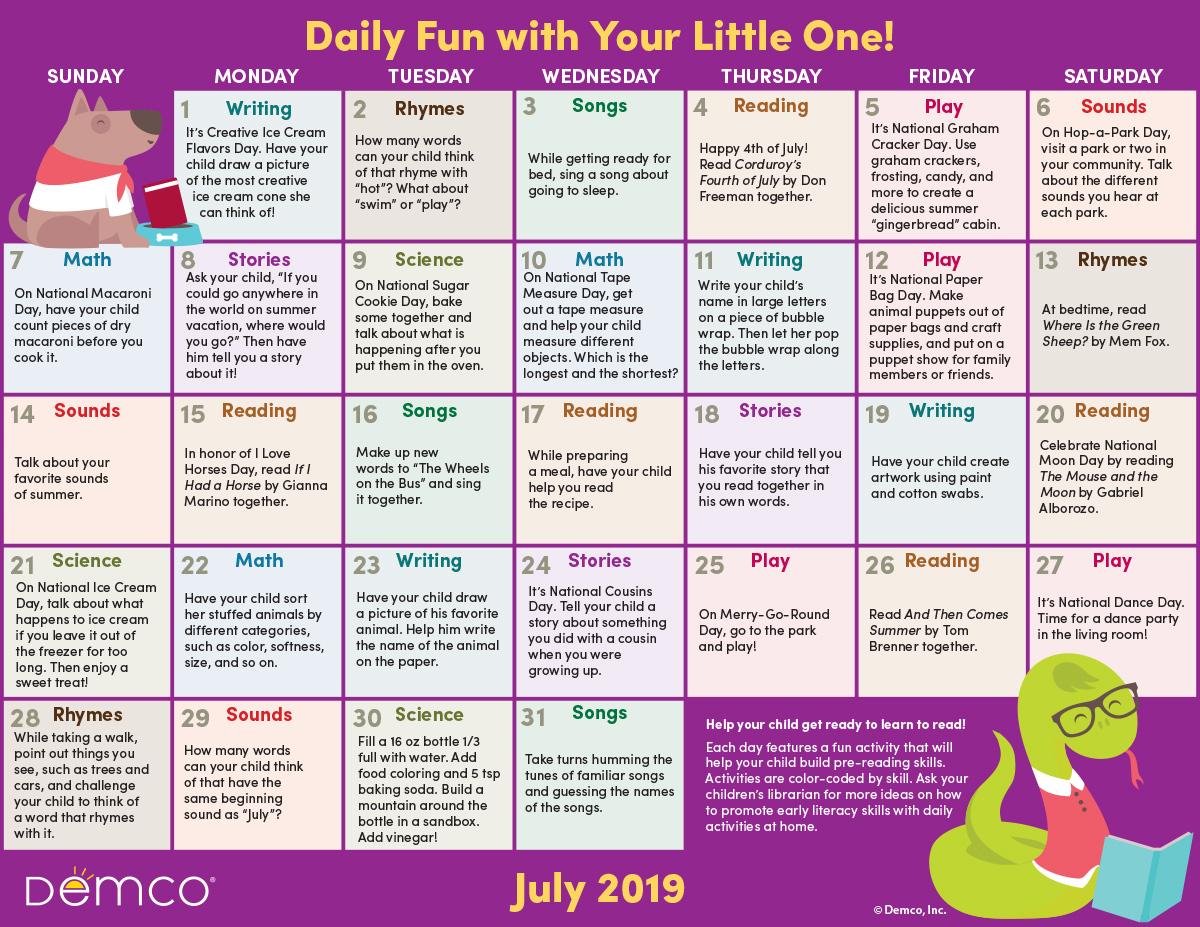 Early Literacy Activities Calendar