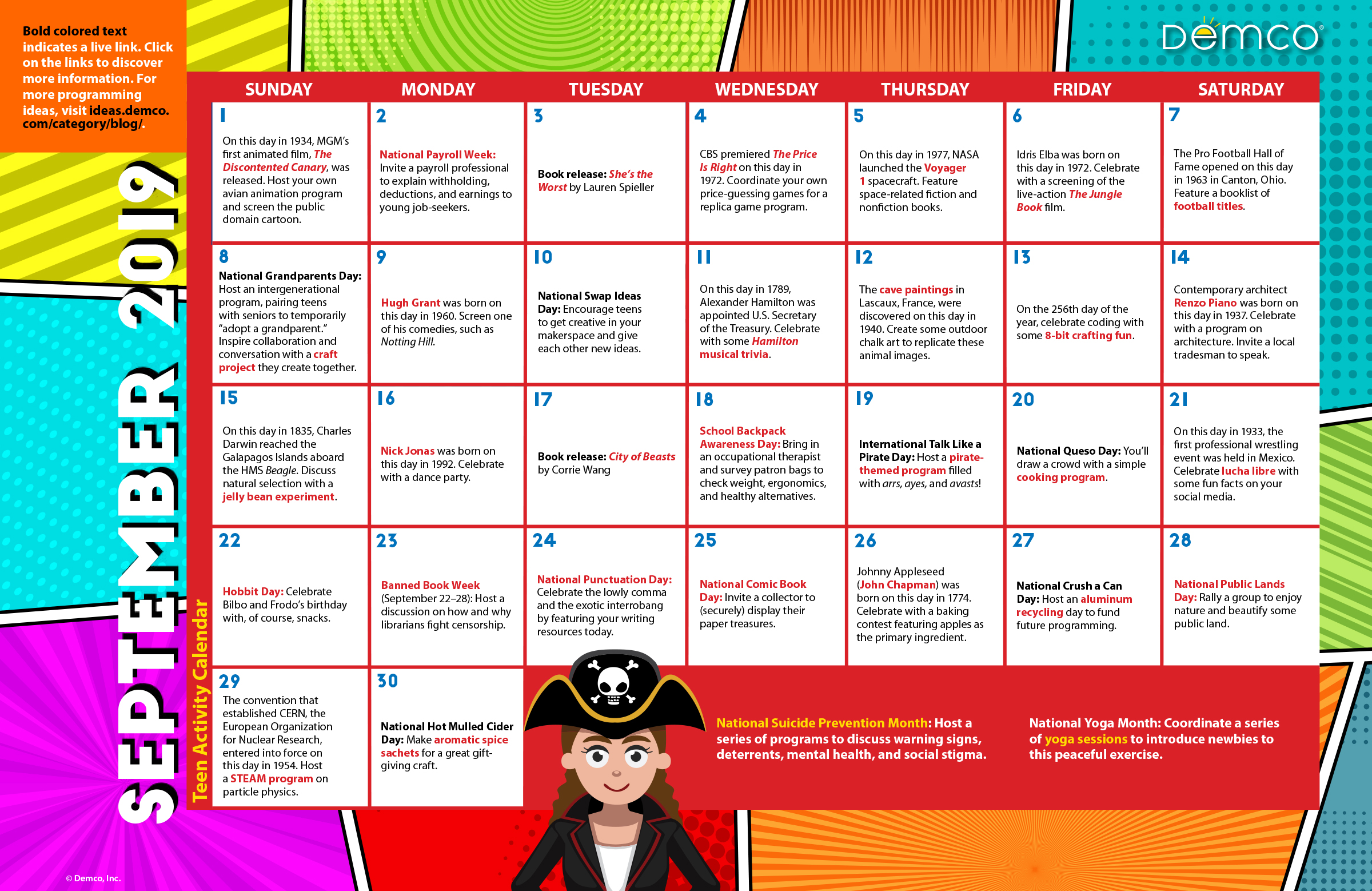 Teen Library Program Ideas Calendar