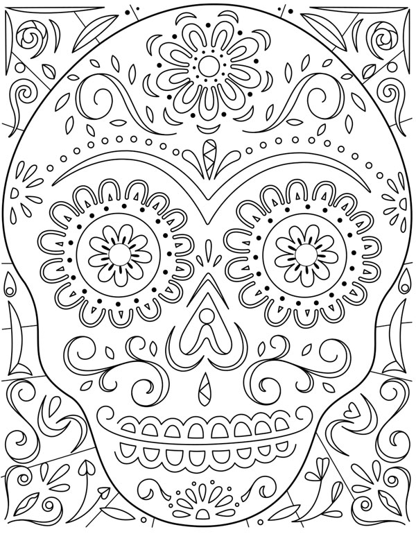 Day Of The Dead Sugar Skull Coloring Page Hallmark Ideas Inspiration