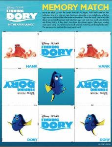 Tarjetas de memoria de Buscando a Dory