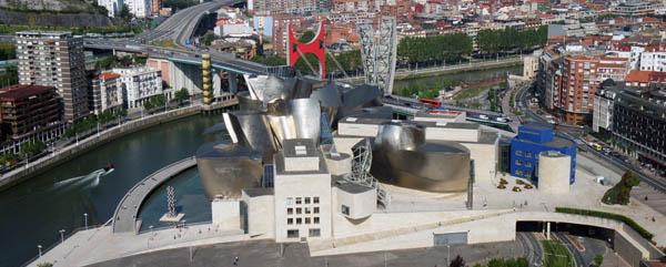 Panoramic view of the Guggenheim Museum, Bilbao, Spain