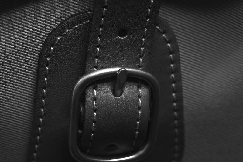 A set of close up images showing the handcrafted quality of the Billingham camera bags
