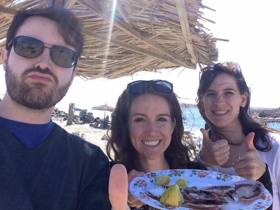 All three of us with our plate of finished Ostiones in Bahia Inglesa, Atacama Region, Chile