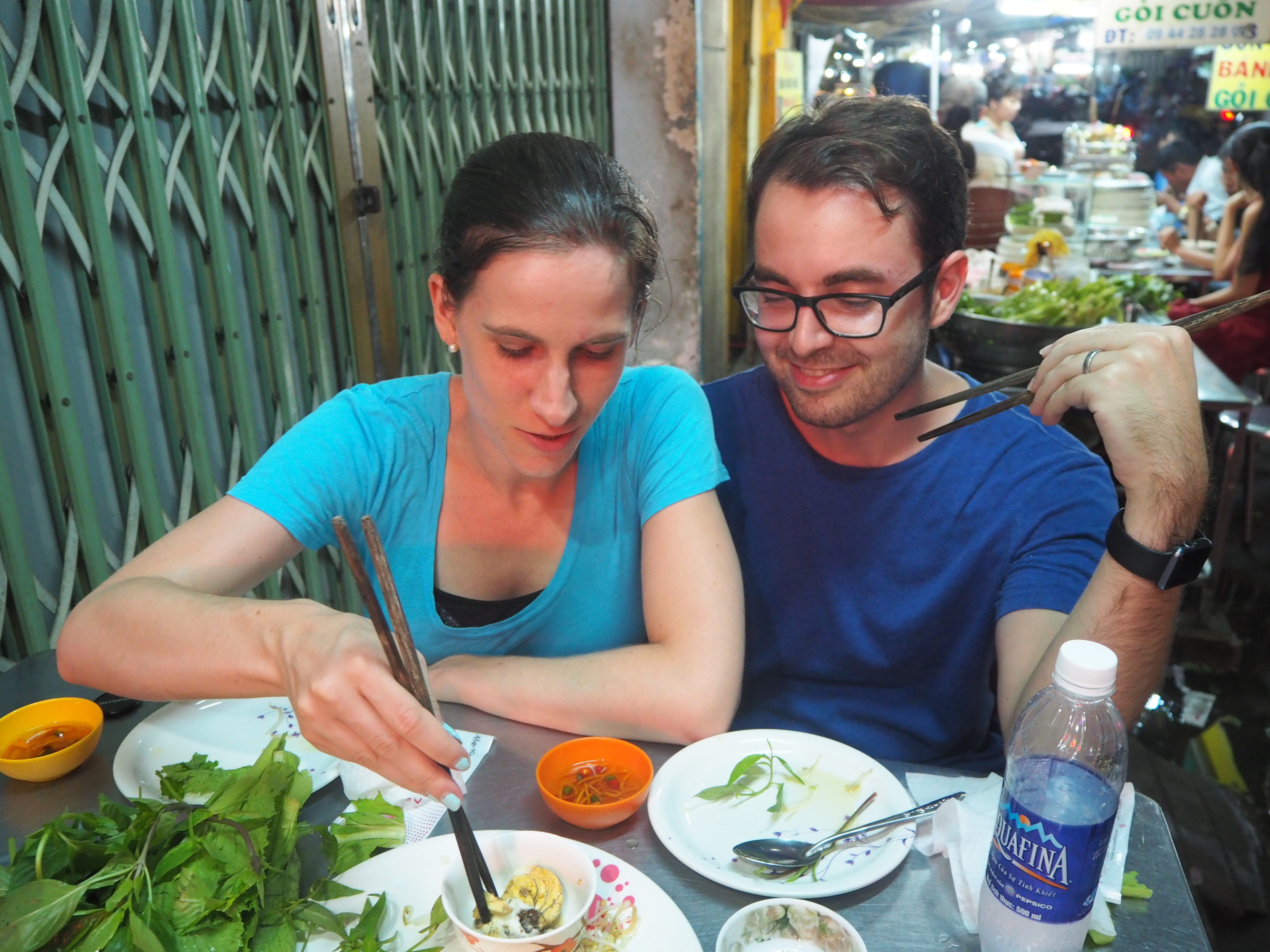 Trying new things on a street food tour in Saigon