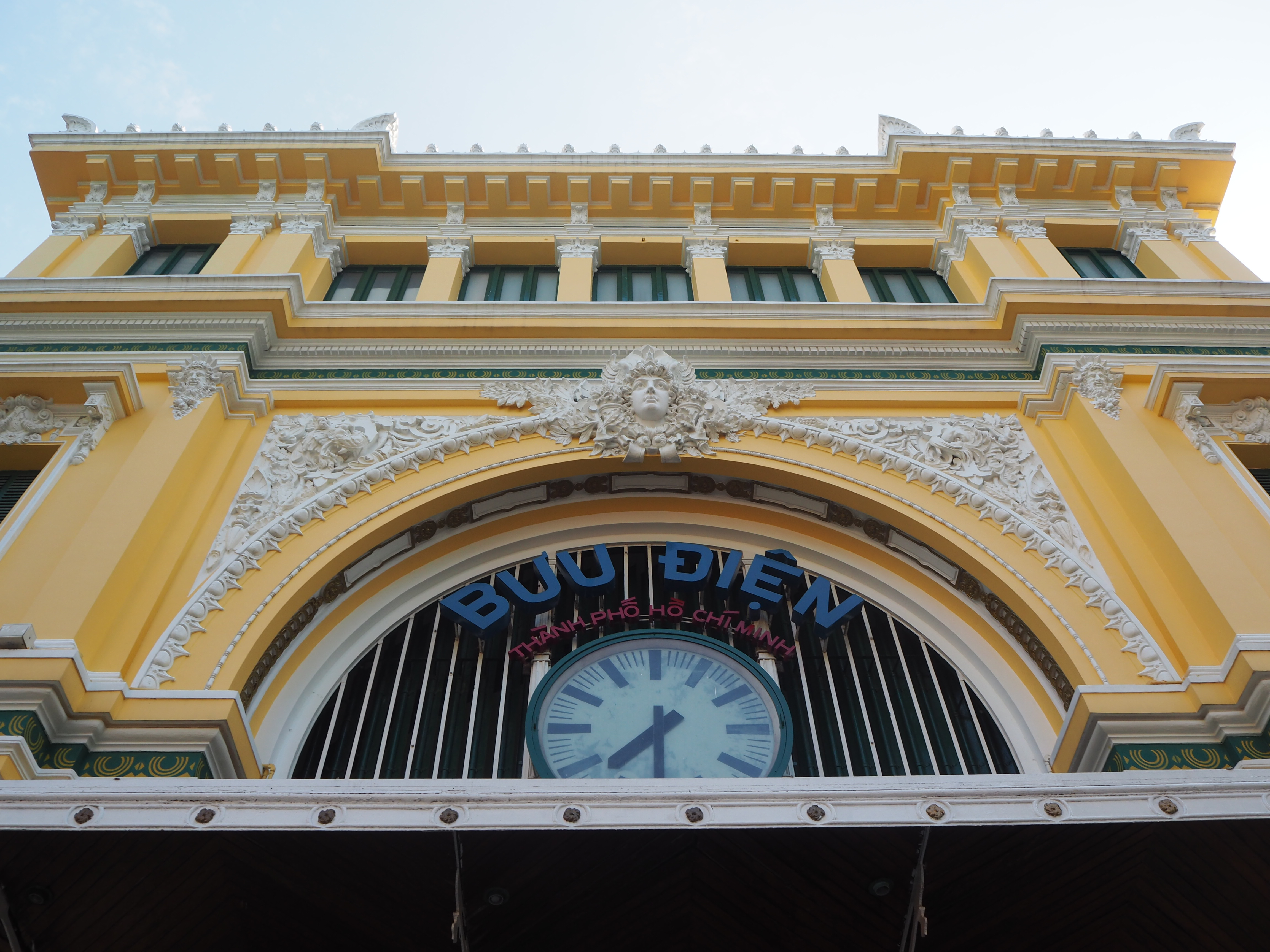 The facade of the post office in Saigon designed by Gustave Eiffel