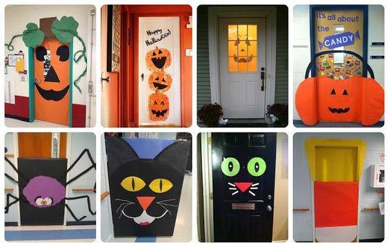 Halloween decoración puertas ideas