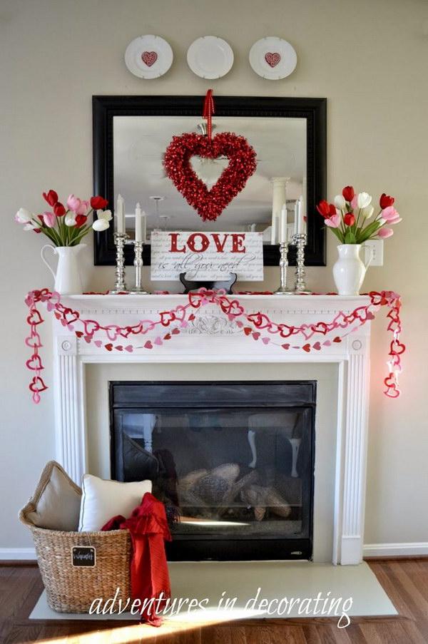 Beautiful Valentines Day Mantel Decorations 2017