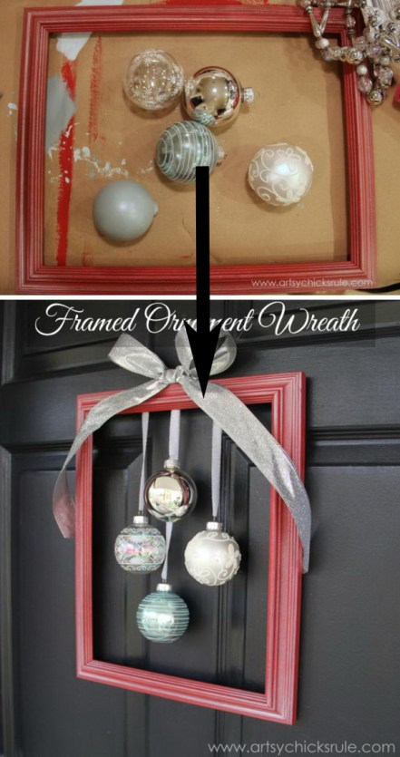 Make your home look festive for less this holiday season with easy DIY dollar store Christmas decor ideas. Wreaths, candles, centerpieces, wall art, ornaments, vases, gifts and more!DIY Framed Ornament Wreath.
