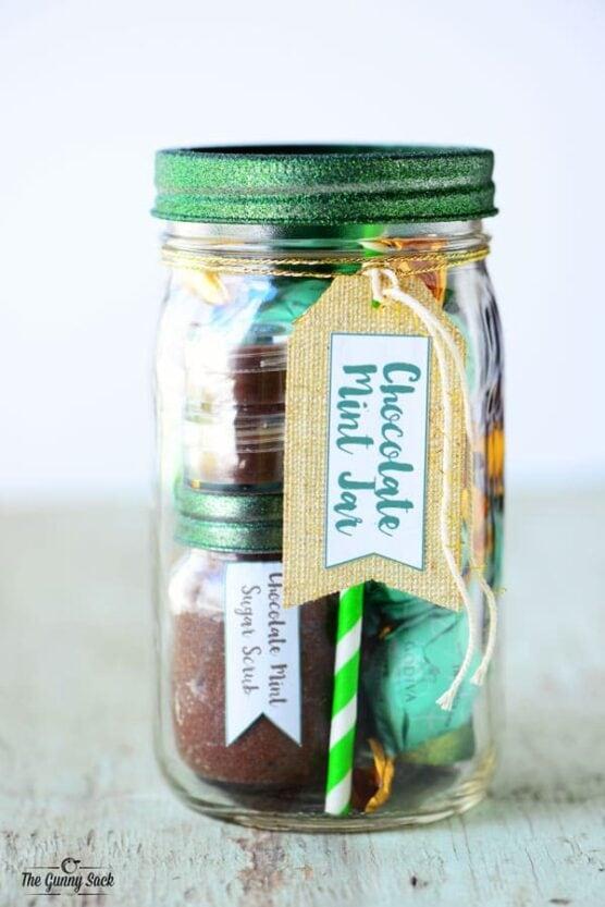 Spa items and sweet treats in a mason jar