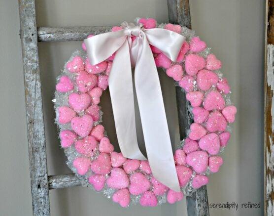 Bath puff heart wreath