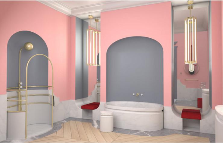La salle de bains d'Alexis Mabille pour Jacob Delafon revisite avec élégance les codes de l'Art déco.