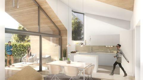 Ideativa Casa pasiva Covasna minimalist cosy interior high ceiling