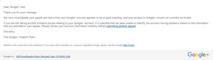 Restatement of G+ access
