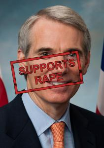 Senator Rob Portman with a SUPPORTS RAPE stamp over his head.