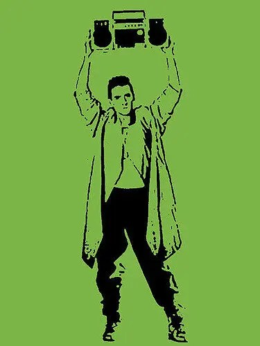 """Illustration of a man holding a boom box as in """"Say Anything"""""""