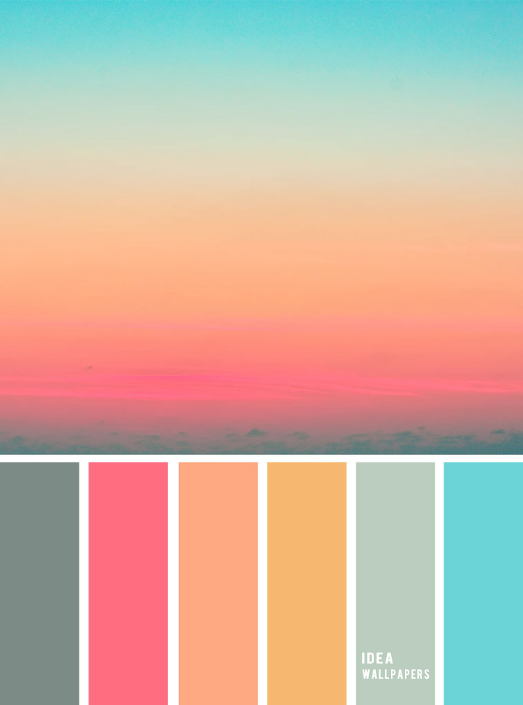 100 beautiful color palette - Pink Peach Blue sky inspired color palette, peach color combination , color palette, sky inspired color palette #color #colors color combination