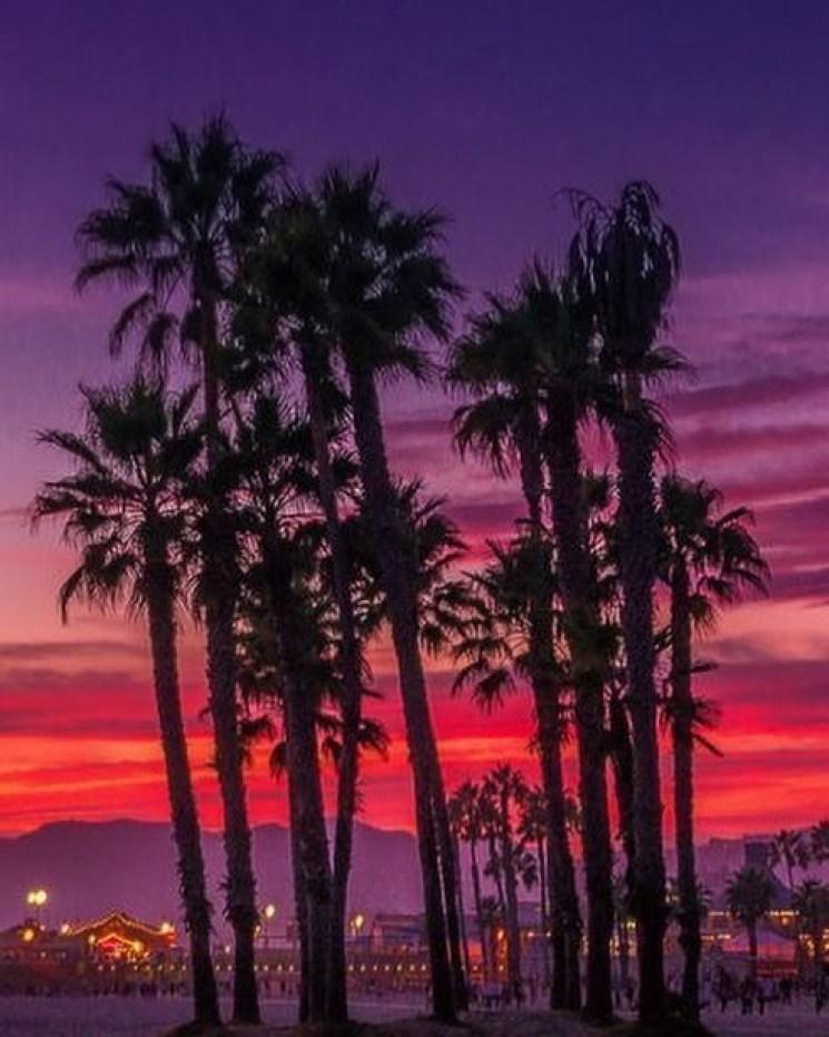 Purple and red orange sky