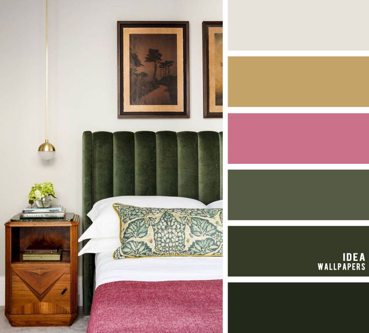 10 Best Color Schemes for Your Bedroom { Dark green + light grey with dark pink accents }, green color palette, colour palette #color #colorpalette , color combinations
