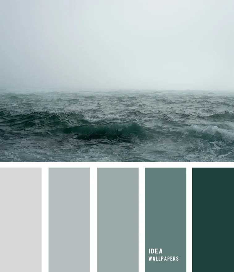Sea fog and grey green ocean inspired color palette, color palette , fog over sea, color palette, grey green ocean , grey color palette #pantone #color #beach