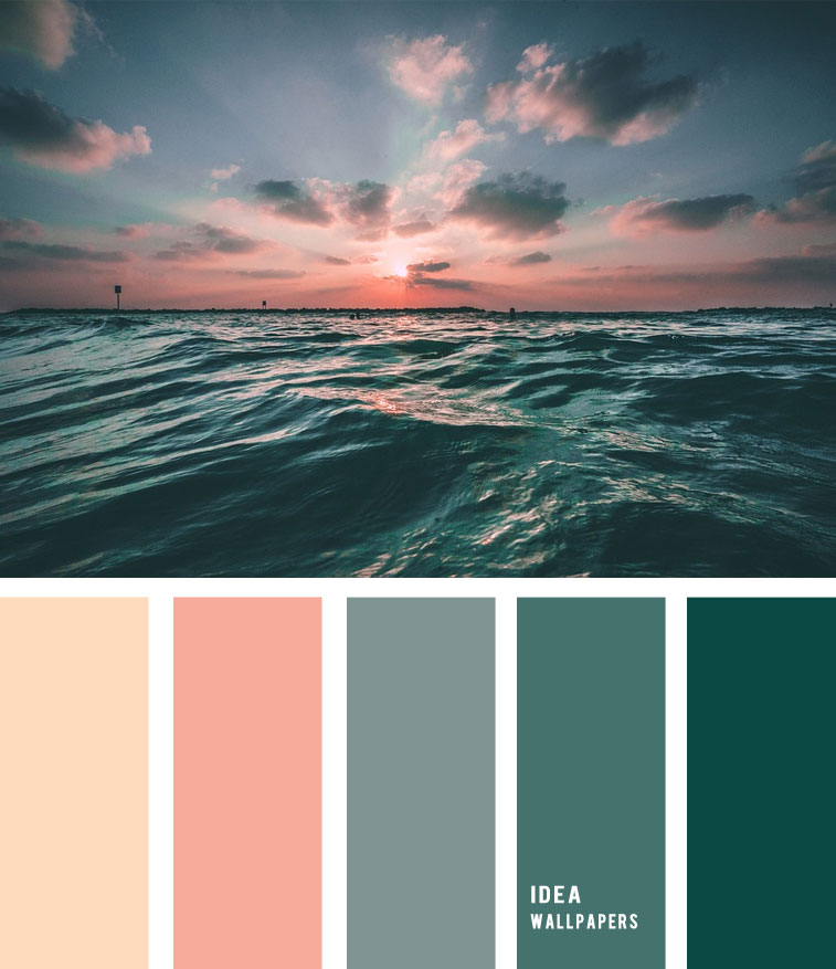 Peach sky and deep green ocean inspired color palette, color palette , deep green ocean color palette #pantone #color #beach