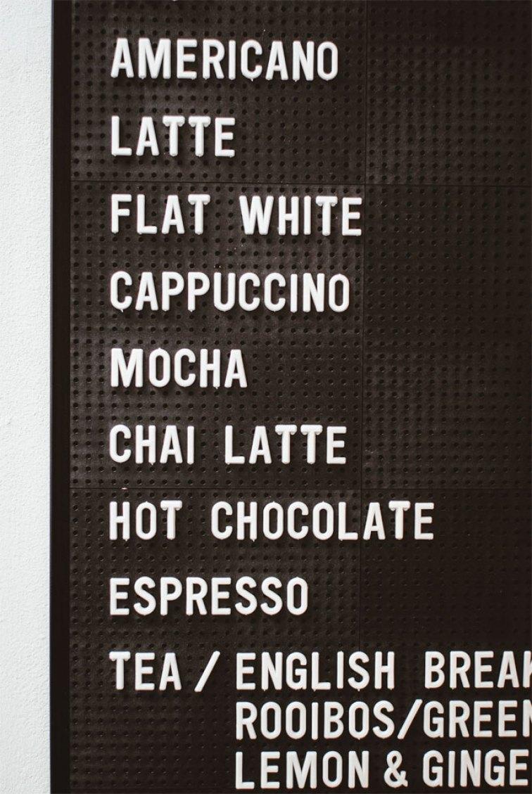 Awesome coffee menu