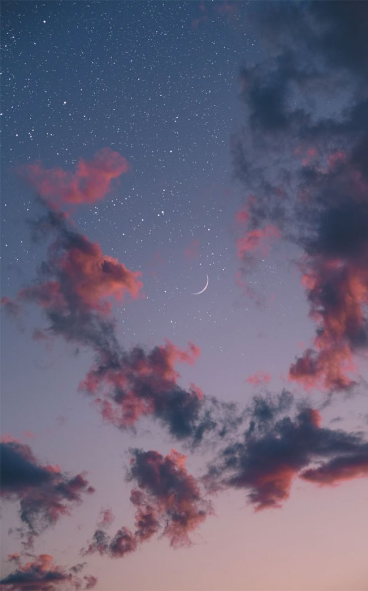 Beautiful evening sky full of stars and the moon , sky , evening sky , stars ,moon
