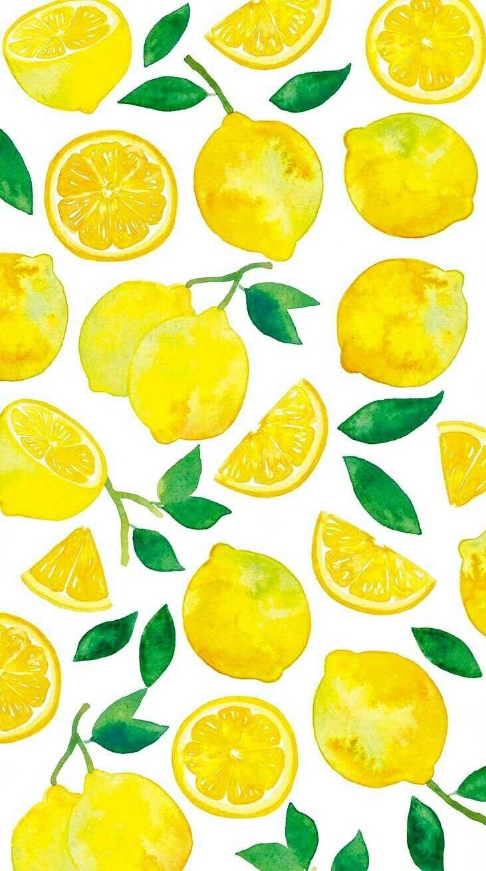 Lemons water color illustration #wallpaper