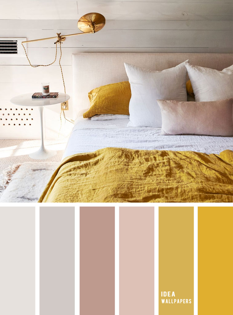 10 Best Color Schemes for Your Bedroom { Light Grey + Mustard } With mauve accents - mustard color bedroom, grey color palette, colour palette #color #colorpalette