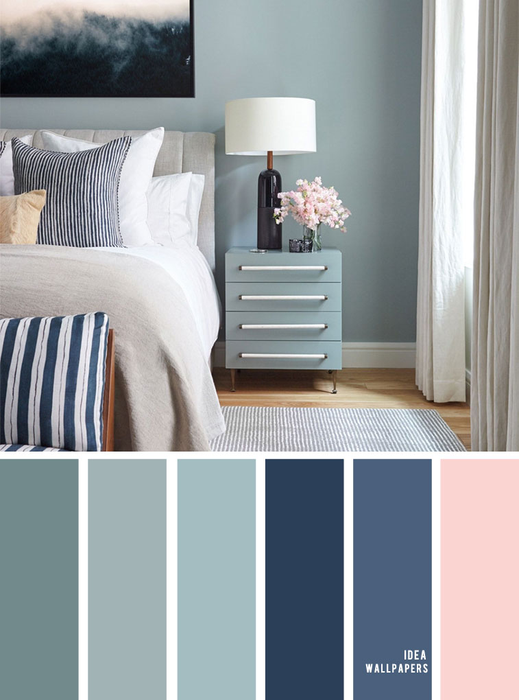 10 Beautiful Color Schemes For Your Bedroom { Sage + Navy Blue & Blush Accents } Sage green and navy blue color bedroom, grey color palette, colour palette #color #colorpalette