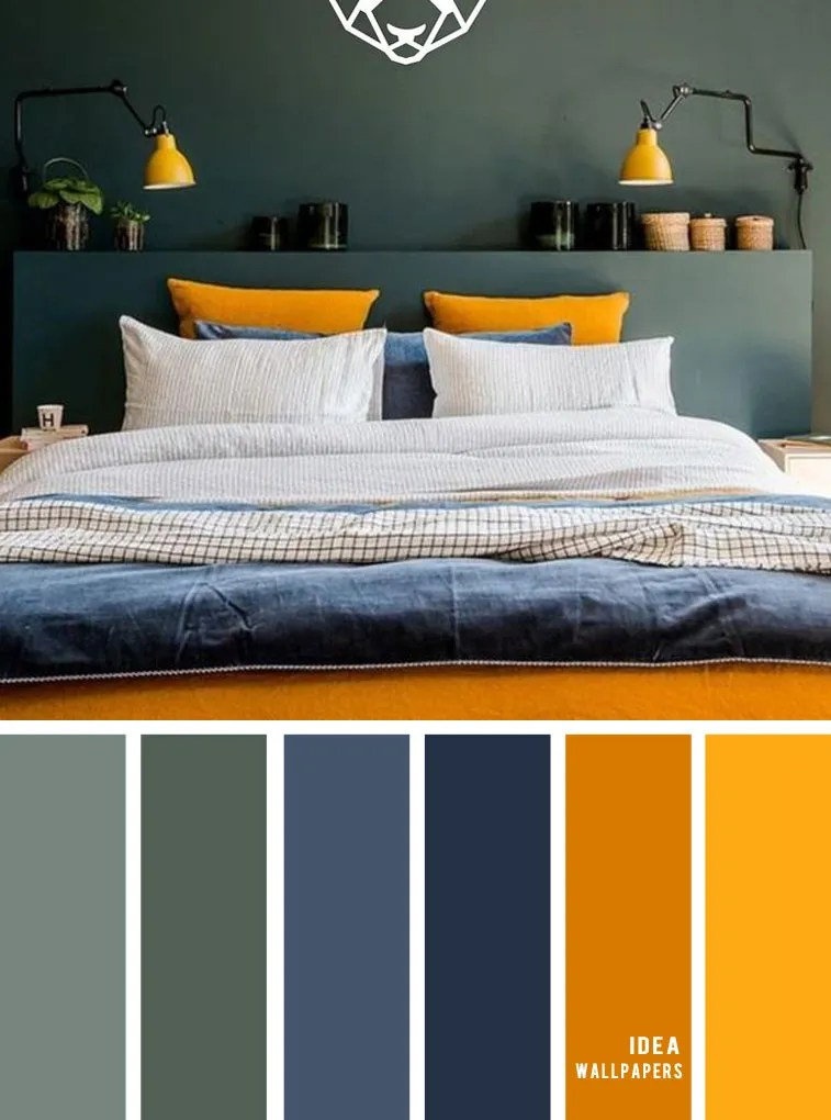 25 Best Color Schemes for Your Bedroom { Green + Dark Blue + Mustard Yellow } color palette #color #bedroomcolor