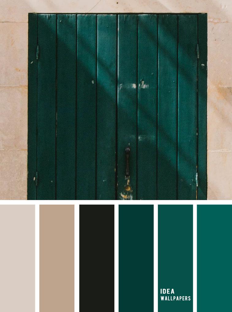 Color inspiration : Sand + black + emerald green #color #colors