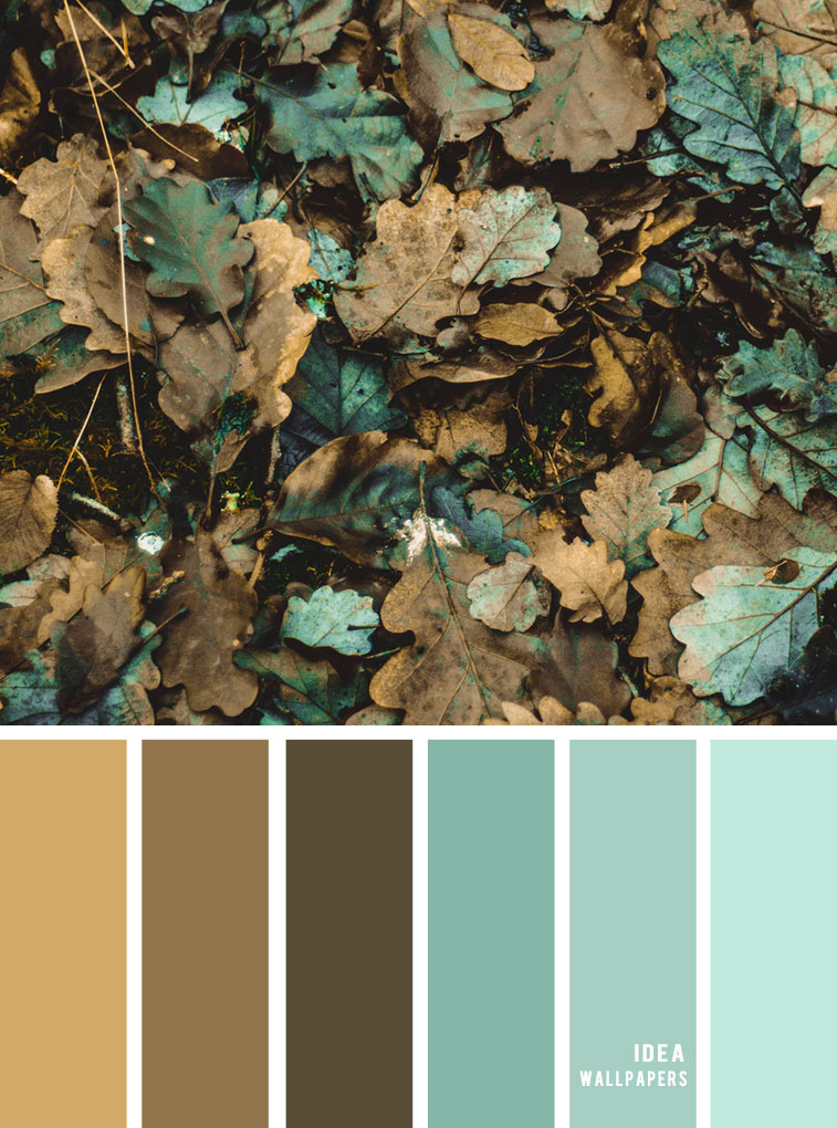 Color Inspiration : Dirty autumn leaf inspired { Teal + brown grey }Color Palette #color #colorinspiration #teal #pantone #autumn