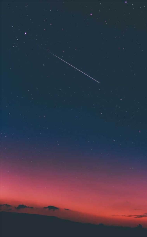 Beautiful indigo and pink sky + shoot star