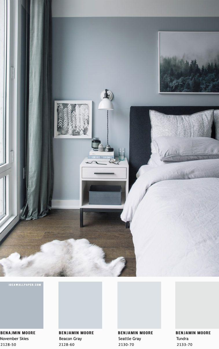 Beautiful bedroom color scheme { Blue Grey - Benjamin Moore } #color #homepainting #homewall #bedroompainting #colorpainting #bedroom