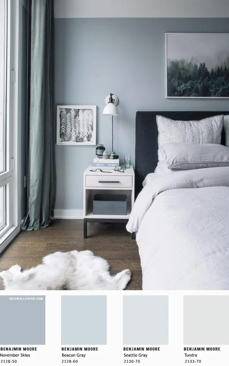 beautiful bedroom blue grey color palette  idea