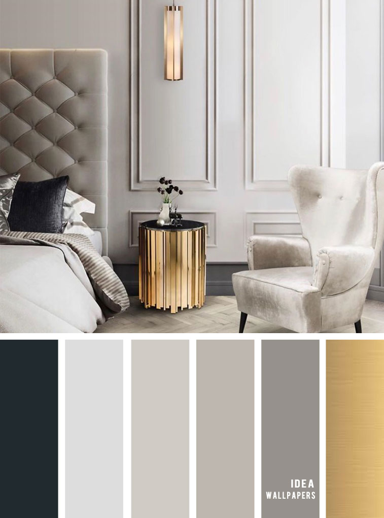 11 Gorgeous Bedroom in Grey Hues + gold - Grey Color schemes #grey #bedroom #color #bedroomcolor