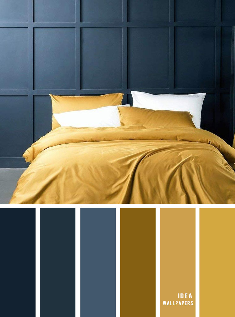 25 Best Color Schemes for Your Bedroom { Navy blue and mustard bedroom colors }, burgundy blush color palette, colour palette #color #colorpalette bedroom color, navy blue and mustard color scheme, blue and mustard color palette
