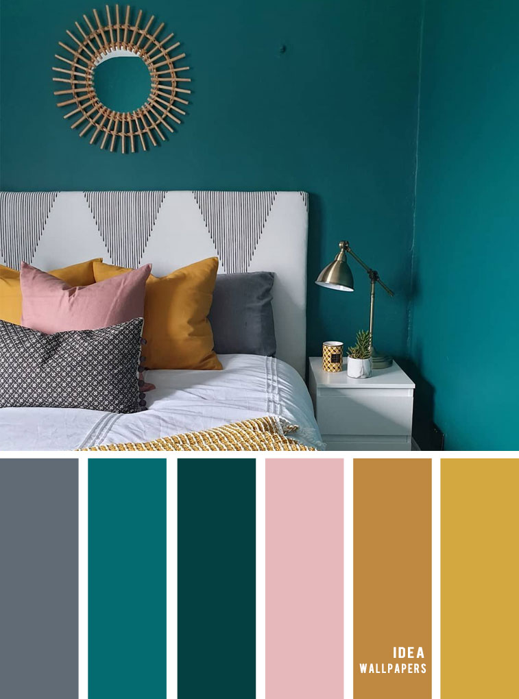 25 Best Color Schemes for Your Bedroom { teal, gold , mustard and grey }, teal mustard gold color palette, colourpalette #color #colorpalette