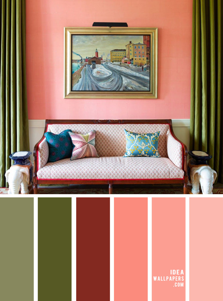 living room color ideas, green and peach color for home color, home color , living room colors, green and salmon #livingroom #homecolor #colors
