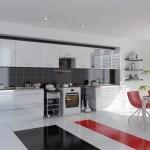 Amenajari interioare bucatarie alb rosu si negru