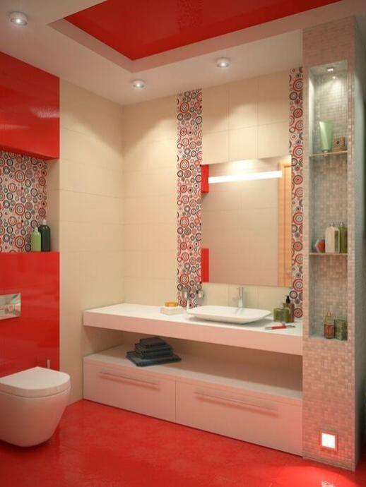 baie alb rosu mozaic
