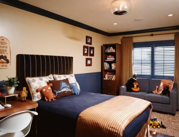 dormitor portocaliu cu negru