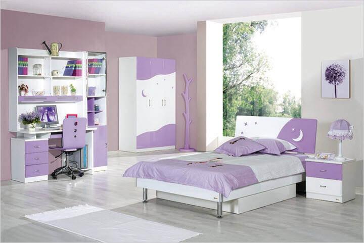 model dormitor violet si alb