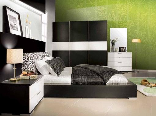 dormitor mobilier alb maro tapet verde