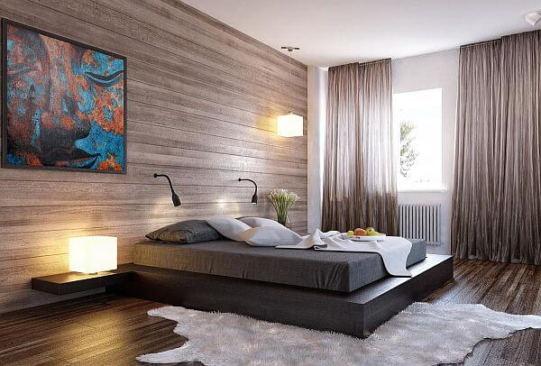 lambriu lemn dormitor