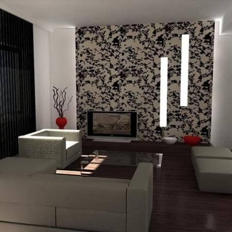 living room cu tapet