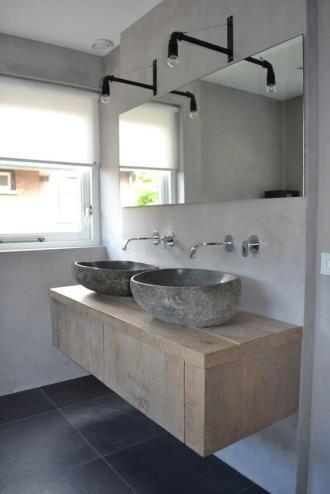 lavoar dublu in baie cu lemn