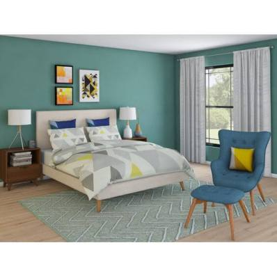 dormitor mare albastru cu alb